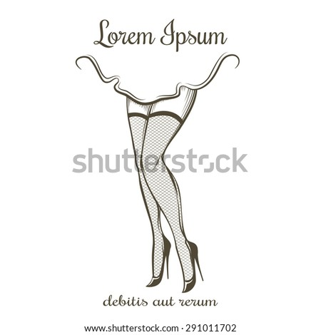 Woman legs in stockings and high heels. Retro pin up style. Emblem erotic or underwear. Isolated on white background. Free font used. - stock vector