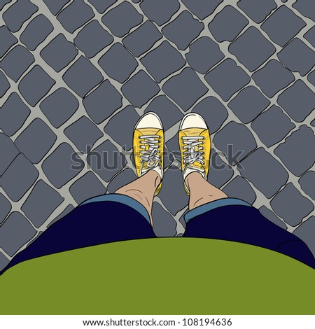 Woman legs in yellow sneakers, standing on the block pavement. Vector illustration. - stock vector