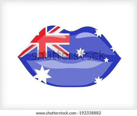 Woman lips with Australian flag - stock vector