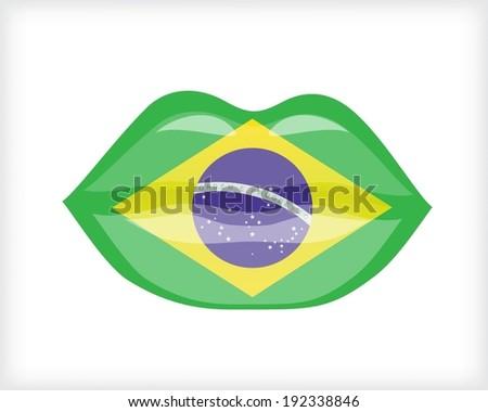 Woman lips with Brazilian flag - stock vector
