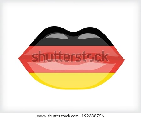 Woman lips with German flag - stock vector