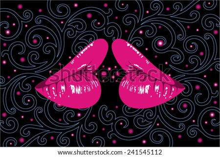 woman lips with heart-shaped profile and ornamental background - stock vector