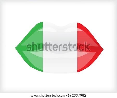 Woman lips with Italian flag - stock vector