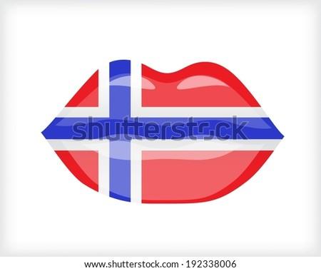 Woman lips with Norwegian flag - stock vector