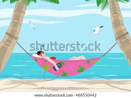 Woman Listening Music While In A Hammock On Beach Editable Clip Art