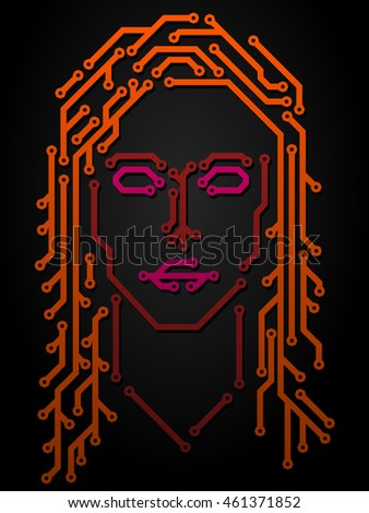 Woman Made Printed Circuit Board Stock Vector 461371852 - Shutterstock