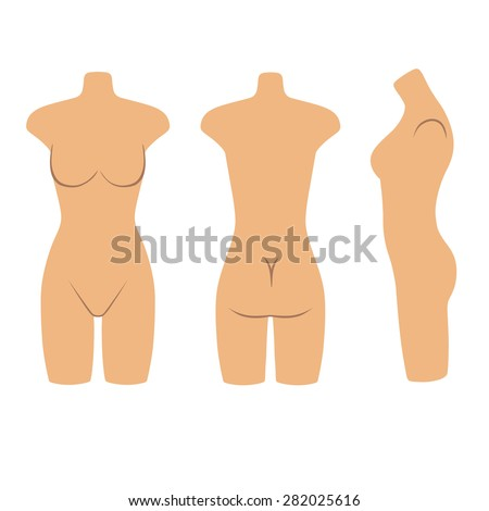 Woman mannequin torso flat style (front, back, side view). Vector illustration isolated on white background. You can use this image for fashion design and etc. - stock vector
