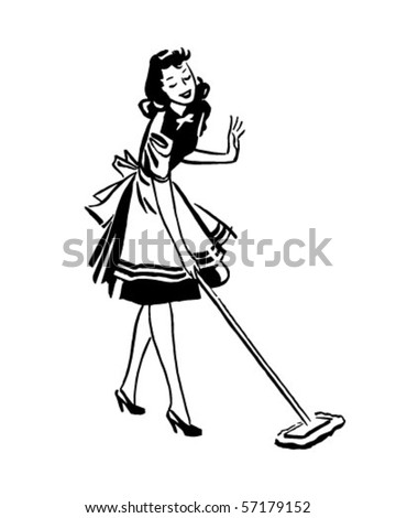 Woman Mopping Floor - Retro Clip Art - stock vector