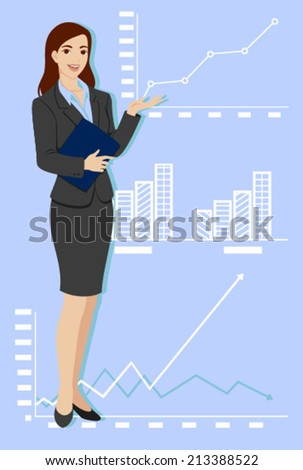 woman of suit smiling this exposing statistical - stock vector