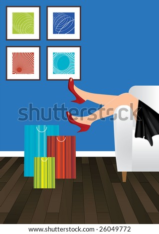 woman on sofa next to shopping bags - stock vector