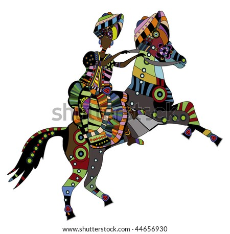 woman on the back of his horse in ethnic style - stock vector