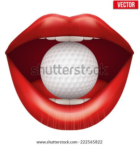 Woman open mouth with golf ball in lips. Vector Illustration. Isolated on white background. - stock vector
