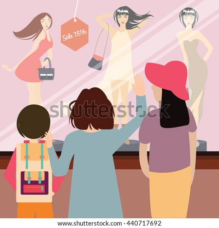 woman people female shopping standing looking front of sale items in fashion store window vector