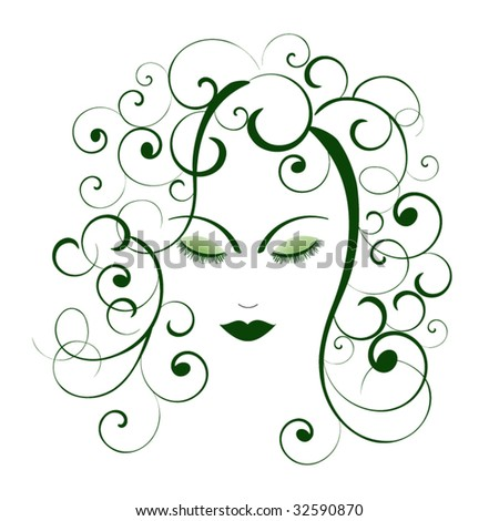 woman - perfectly imperfect - tousled curly hair  - separate pieces use coils as you wish - stock vector