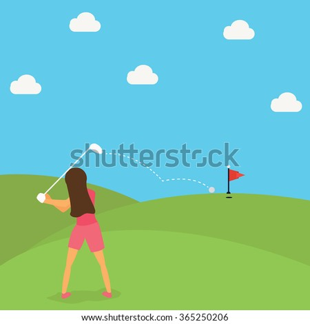 woman play golf put ball on green cartoon - stock vector