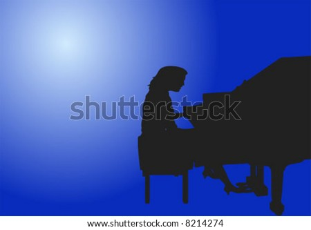 Woman Playing Piano Vector Illustration
