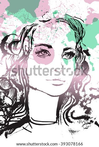 Woman Portrait. Hand painted fashion illustration - stock vector