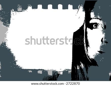 woman portrait in film - stock vector