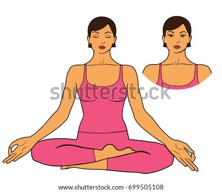 woman practicing meditation sitting yoga pose stock vector royalty