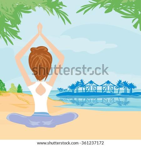 woman practicing yoga at seashore - stock vector