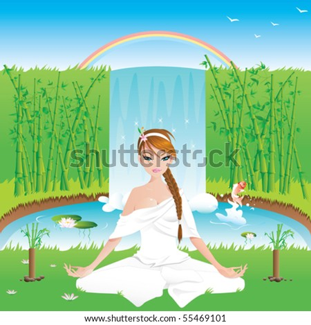 Woman practicing yoga outdoors -vector contains layers- - stock vector