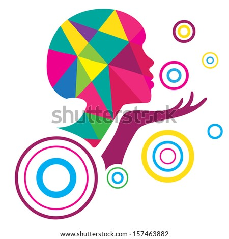 Woman profile abstract design - stock vector