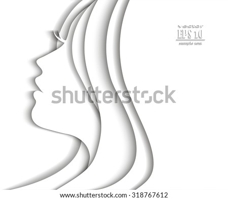 Woman profile beauty illustration vector - stock vector