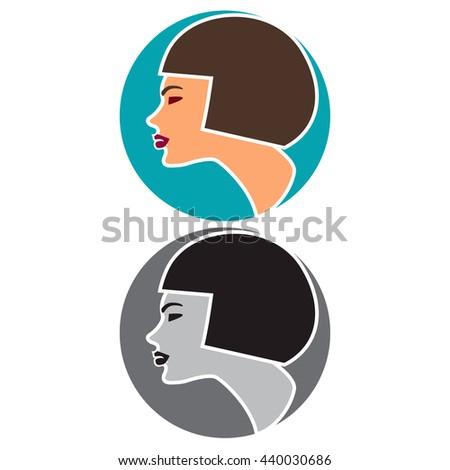 Woman profile icon. Bob haircut. Beauty, fashion, cosmetics or hairstyle concept. - stock vector