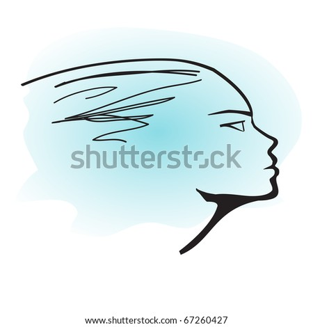 Woman Profile on Blue Sky background - stock vector