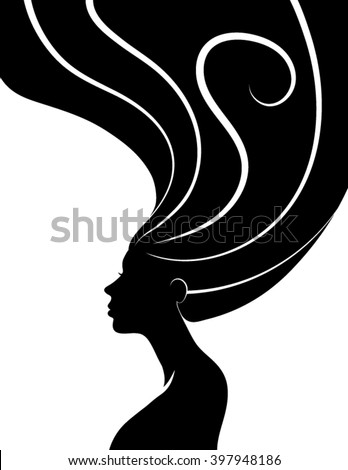 ... woman with wavy hair woman hair style silhouette woman hair style