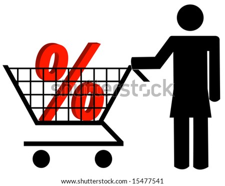 woman pushing shopping cart with percent sign - stock vector