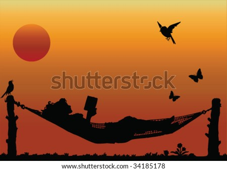Woman Reading in a Hammock - stock vector
