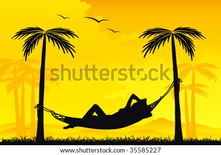 Woman relaxing in a hammock on tropical background - stock vector