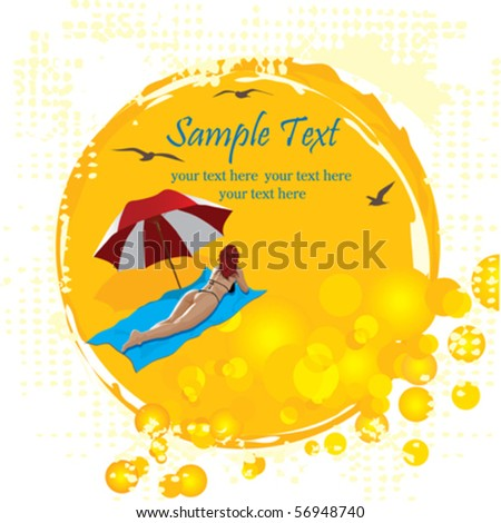 Woman relaxing on a tropical beach. Tropical background vector. - stock vector