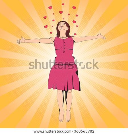 Woman retro style pop art - stock vector