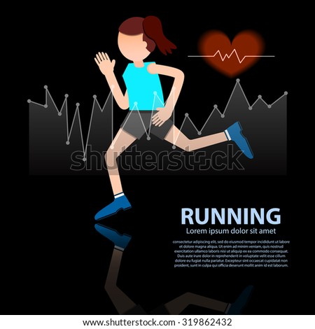 woman running healthy lifestyle figure with hear rate on black background vector illustration