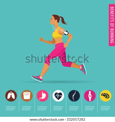 woman running, jogging - infographic - stock vector
