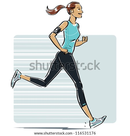 Woman Running. The background, drop shadow and earphones+cord are placed in separate folders in the EPS8 file so they easily can be removed. - stock vector