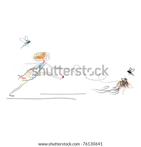 Woman running with dog - stock vector
