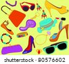 Woman's accessory set - stock vector