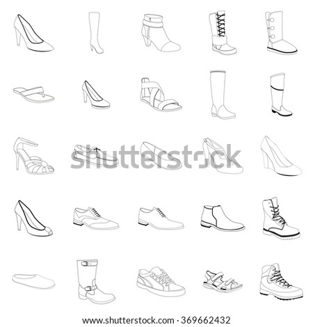 Woman's and man's footwear, outline. Names: ankle boot, biker boot, business shoe, heel-strap sandals, men's sandal, moccasin, outdoor boots, rubber boots, sandals, snow boots, trainers, footwear. - stock vector