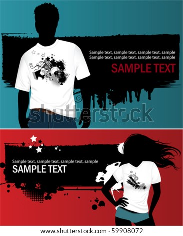 Woman's and man's t-shirt. All elements and textures are individual objects. Vector illustration scale to any size. - stock vector