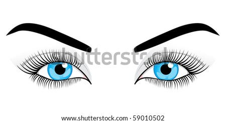 Woman's blue eyes on a white background. Vector illustration.