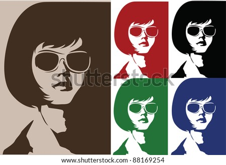 Woman's face, different colors - stock vector