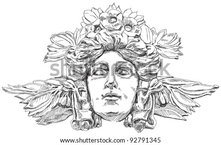 Woman's face with olive branches and flowers woven into the hair. Decorative element of the facade of a historic building in Prague. Czech Republic. Vector illustration - stock vector
