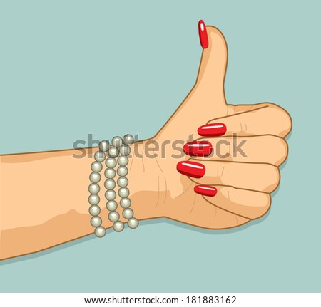 "Woman's hand gesturing ""thumbs up"" - stock vector"