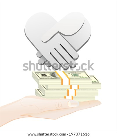 Woman's hand holding object-Handshake and money , isolated on white background - stock vector