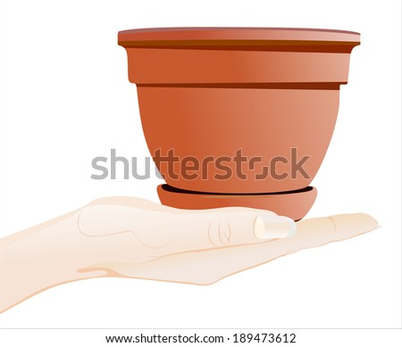 Woman's hand holding object-planting pot isolated on white background. - stock vector