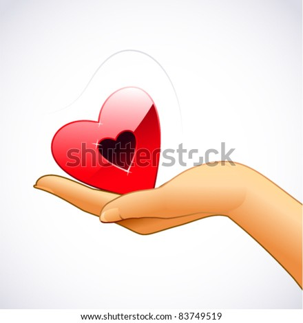 Woman's hand is holding red heart - stock vector