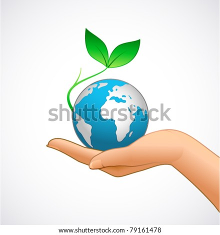 Woman's hand is holding small earth and plant - stock vector